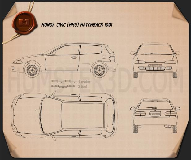 Honda Civic hatchback 1991 Blueprint