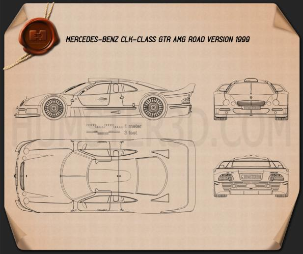 Mercedes-Benz CLK-class GTR AMG 1999 Blueprint