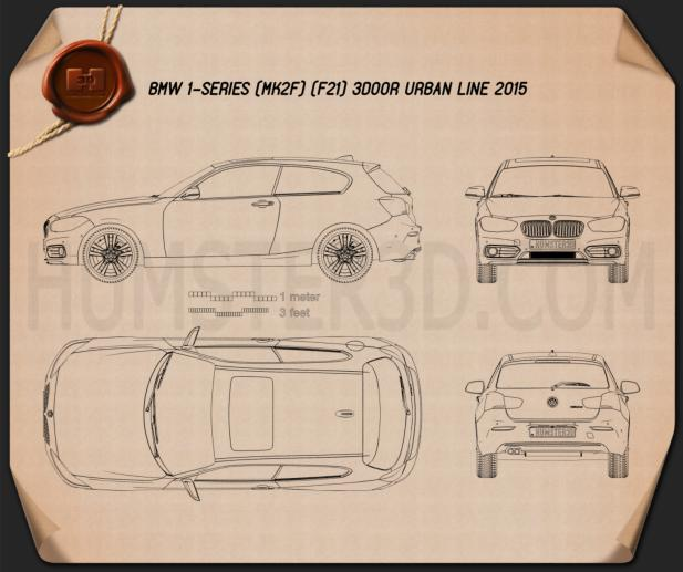 BMW 1 Series (F21) 3-door Urban Line 2015 Blueprint
