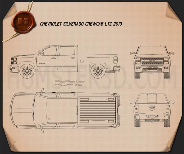 Chevrolet Silverado Crew Cab LTZ 2014 Blueprint