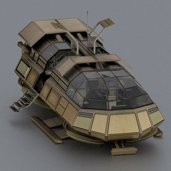 Futuristic Transport Shuttle Rigged 3d model