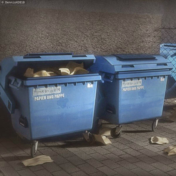 Garbage container low poly 3d model