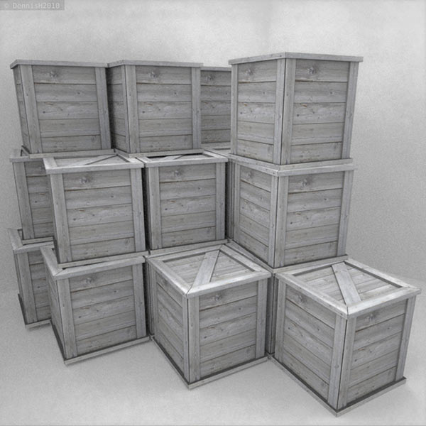 Wooden Boxes low poly 3d model