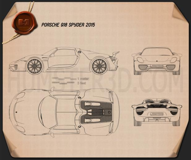 porsche 918 spyder 2015 blueprint hum3d. Black Bedroom Furniture Sets. Home Design Ideas