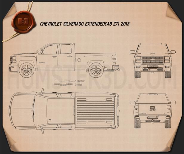 Chevrolet Silverado Extended Cab Z71 2014 Blueprint