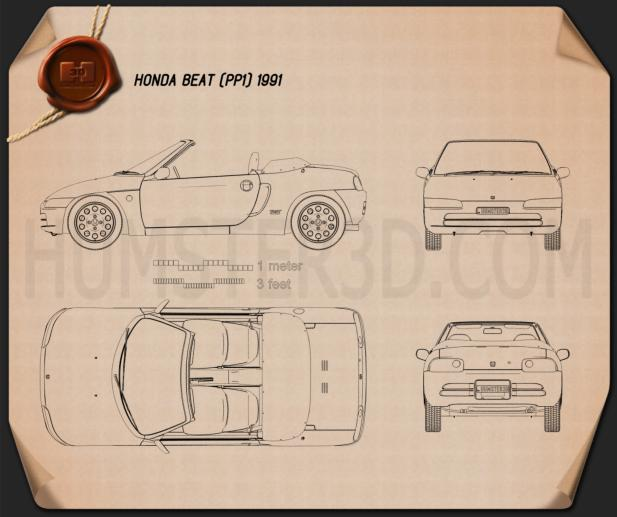 Honda Beat (PP1) 1991 Blueprint
