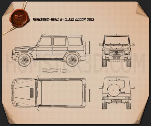 Mercedes-Benz G-Class 5-door 2013 Blueprint