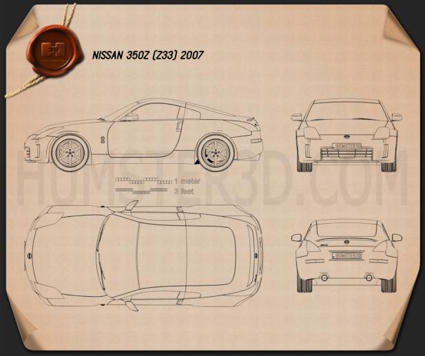 Nissan 350z z33 2007 blueprint hum3d nissan 350z z33 2007 blueprint malvernweather Images