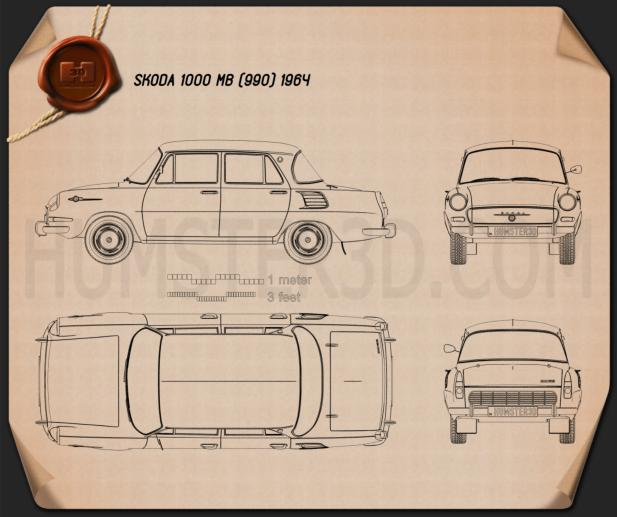 Skoda 1000 MB 1964 Blueprint