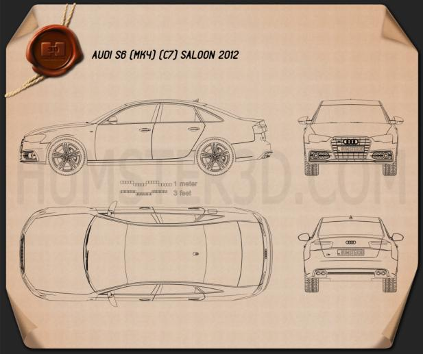 Audi S6 (C7) saloon 2012 Blueprint