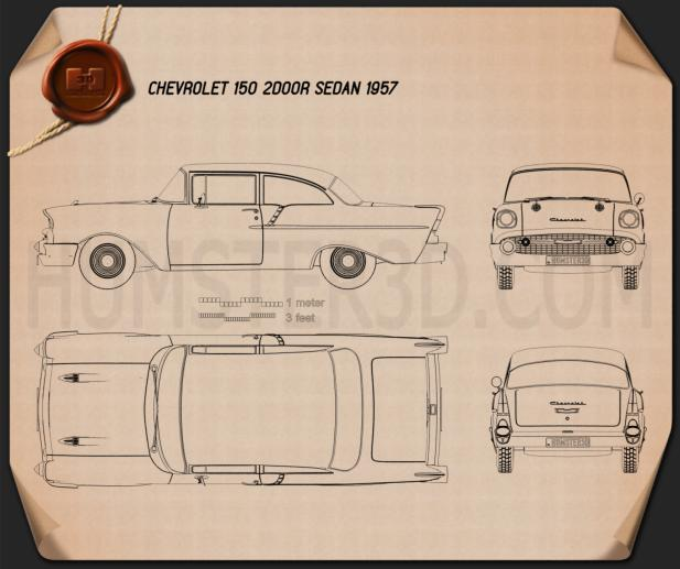 Chevrolet 150 2-door sedan 1957 Blueprint