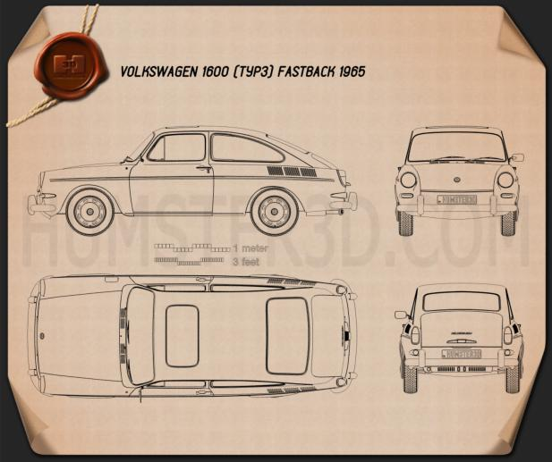 Volkswagen Type 3 (1600) fastback 1965 Blueprint