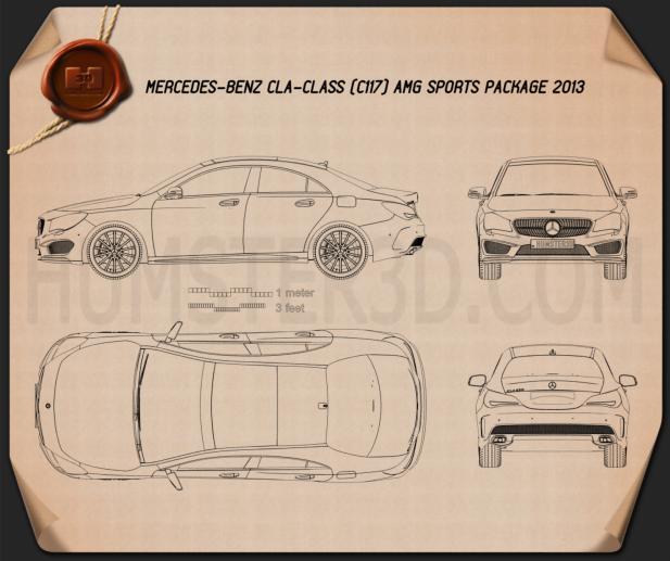 Mercedes-Benz CLA AMG Sports Package 2013 Blueprint 3d model