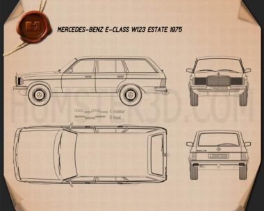 Mercedes-Benz E-Class W123 estate 1975 Blueprint