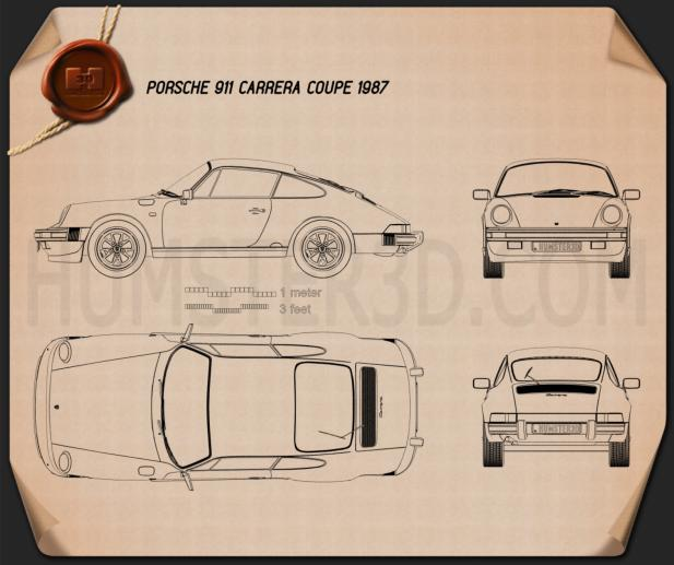 Porsche 911 Carrera Coupe 1987 Blueprint