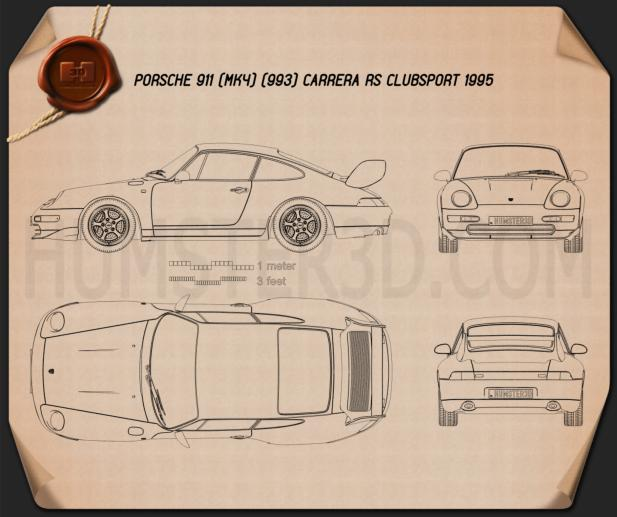 Porsche 911 Carrera RS Clubsport (993) 1995 Blueprint