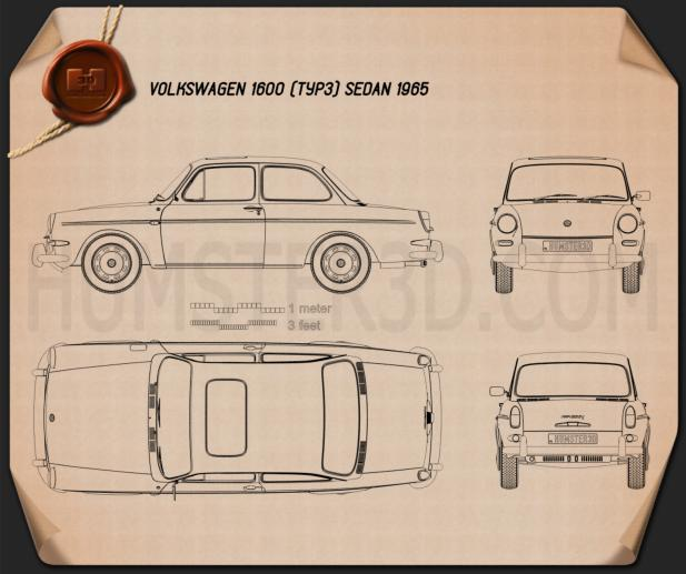 Volkswagen Type 3 (1600) sedan 1965 Blueprint