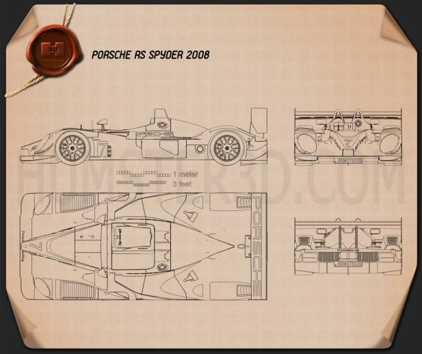 Porsche RS Spyder 2008 Blueprint