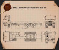 Renault Kerax Chassis Truck 1997 Blueprint