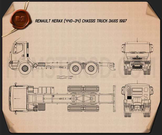 Renault Kerax Chassis Truck 1997 Blueprint