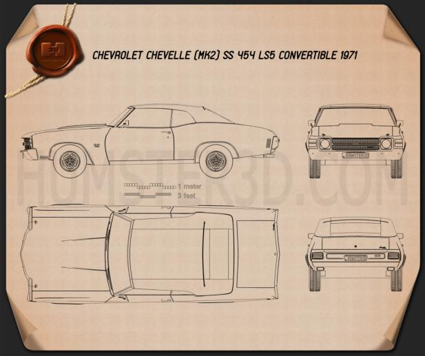 Chevrolet Chevelle SS 454 LS5 convertible 1971 Blueprint
