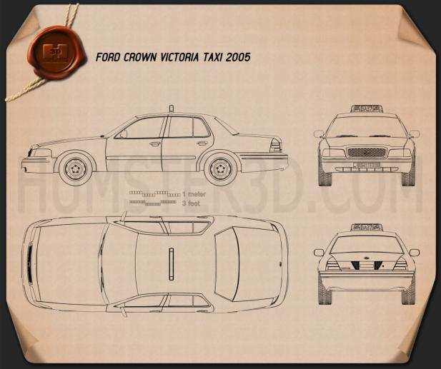 Ford Crown Victoria New York Taxi 2005 Blueprint