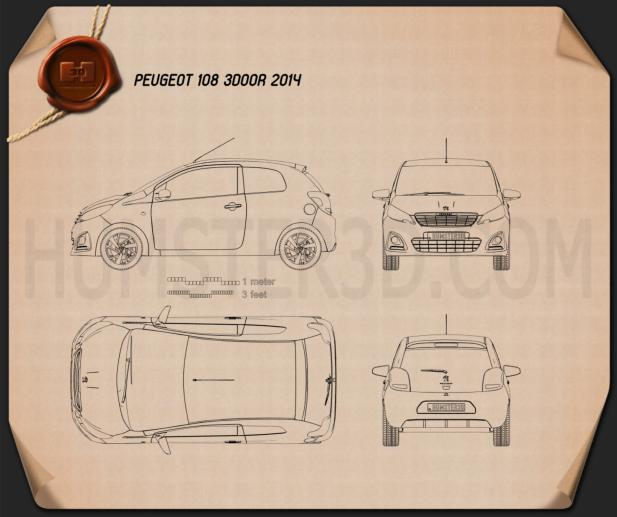 Peugeot 108 3-door 2014 Blueprint