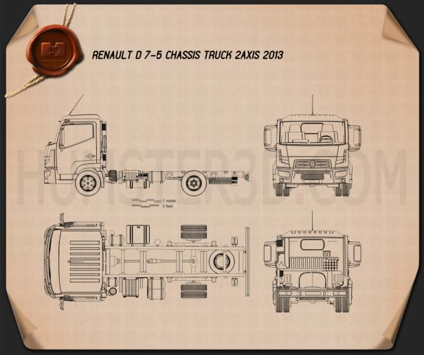 Renault D 7.5 Chassis Truck 2013 Blueprint