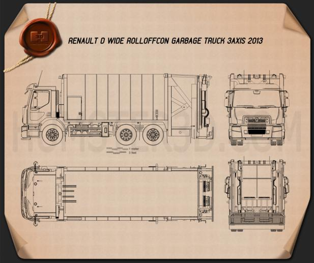 Renault D Wide Rolloffcon Garbage Truck 2013 Blueprint