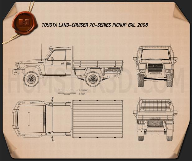 Toyota Land Cruiser (J70) Pickup GXL 2008 Blueprint