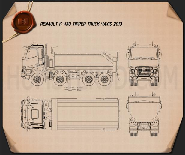 Renault K 430 Tipper Truck 2013 Blueprint
