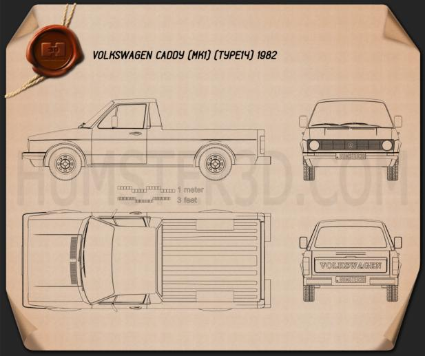 Volkswagen Caddy (Type 14) 1982 Blueprint