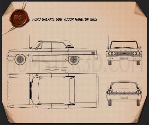 Ford Galaxie 500 hardtop 1963 Blueprint
