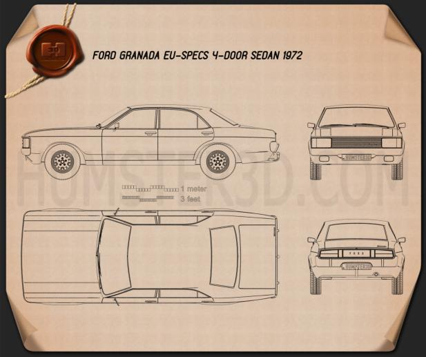 Ford Granada sedan EU 1972 Blueprint