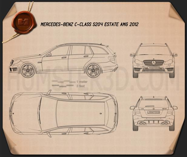 Mercedes-Benz C-Class 63 AMG estate 2012 Blueprint