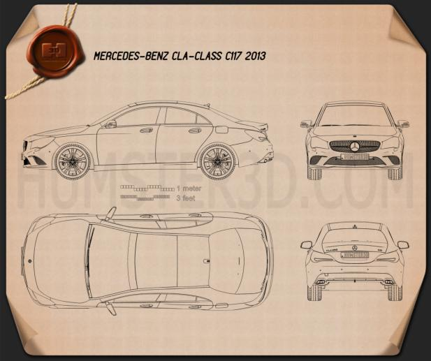 Mercedes-Benz CLA-Class (C117) 2013 Blueprint