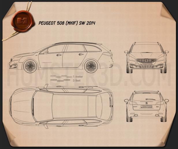 Peugeot 508 SW 2014 Blueprint