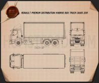 Renault Premium Distribution Hybrys Box Truck 2011 Blueprint