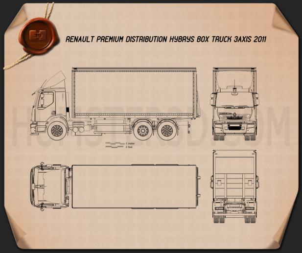 Renault Premium Distribution Hybrys Box Truck 2011 Blueprint