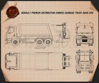 Renault Premium Distribution Hybrys Garbage Truck 2011 Blueprint