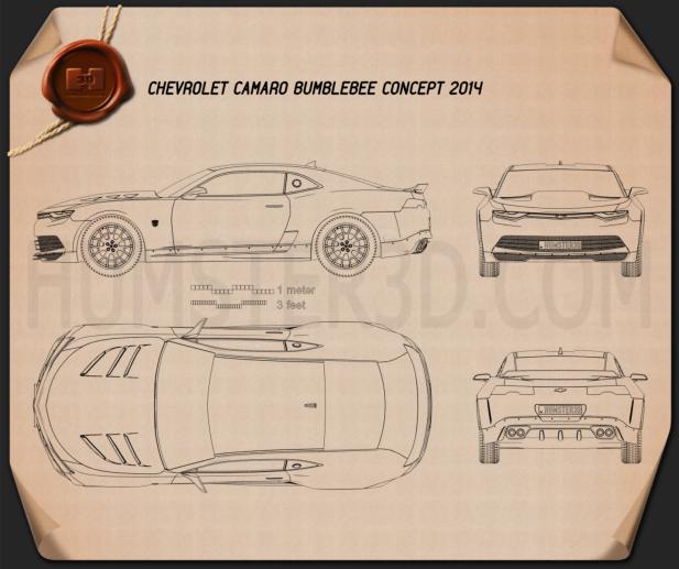 Chevrolet Camaro Bumblebee 2014 Blueprint - Hum3D