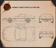Chevrolet Corvette (C4) coupe 1983 Blueprint