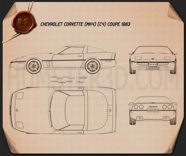 Chevrolet Corvette (C4) coupe 1983 Blueprint