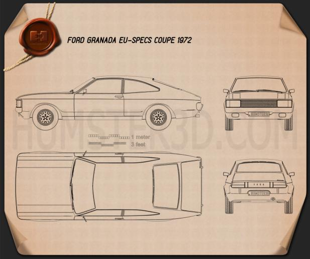 Ford Granada coupe EU 1972 Blueprint