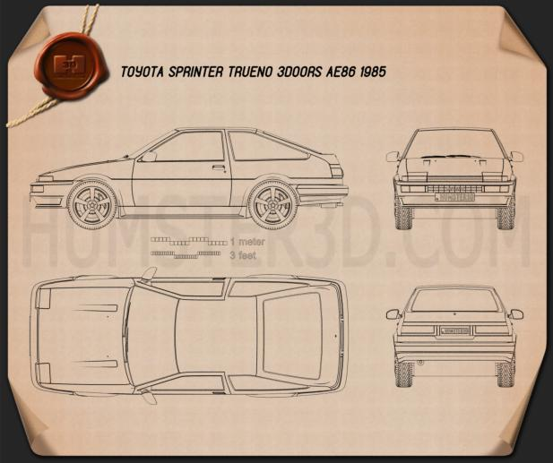 Toyota Sprinter Trueno AE86 3-door 1985 Blueprint