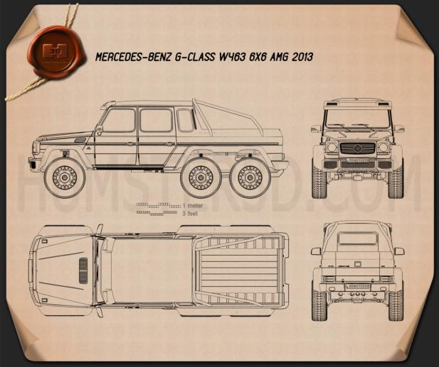 Mercedes-Benz G-Class 6x6 AMG 2013 Blueprint