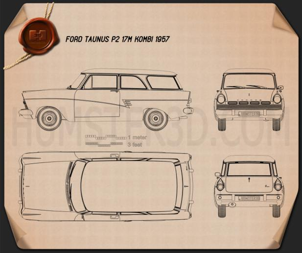 Ford Taunus P2 17M kombi 1957 Blueprint