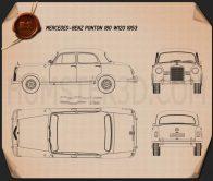 Mercedes-Benz Ponton 180 W120 1953 Blueprint