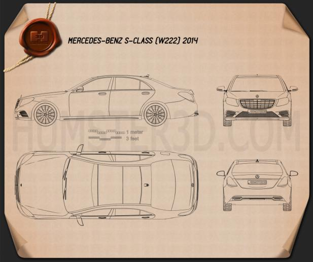 Mercedes-Benz S-Class (W222) 2014 Blueprint