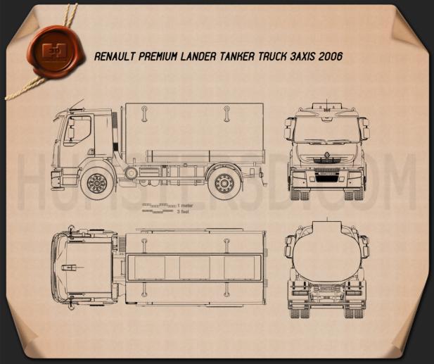 Renault Premium Lander Tanker Truck 2006 Blueprint
